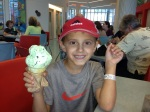 Mikko insisted that we stop downstairs in the hospital to get an ice cream cone before heading North. He ate it all!