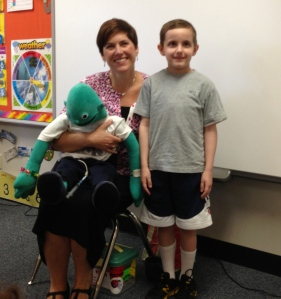 Jeanine visited last April 2013 with John's kindergarten class to talk about his hickman line and feeding tube.